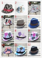 Wholesale Canvas Kids Fedora - Hat Dance Jazz Fedora Cap Canvas Trilby Flat Beanie Caps Cowboy Straw Hat 29 Colors For Boys Girls Kids