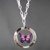 Wholesale Butterfly Specimens - Lovely Fashion Magnifying Glass Locket Butterfly Specimen Statement Necklace Charms Floating Locket For Women High Quality