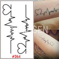 Wholesale paper tattoo designs - Wholesale- 1 Sheet Tattoo Stencil Temporary Stickers Finger Body Art Waterproof Tattoo Sticker Heart Design Tattoos Paper For Women WTAo264