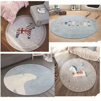 Wholesale Hand Foot Prints - Round Cartoon Carpet Home Non Slip Creative Foot Pad Bedroom Carpets Gray Various Modern Styles Modern Polyester Fiber Material 30js I1