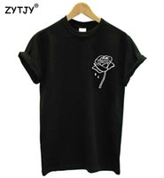 Wholesale T Shirts Ladies Flowers Rose - Wholesale- rose flower pocket Print Women tshirt Cotton Casual Funny t shirt For Lady Top Tee Hipster Tumblr Drop Ship Z-970