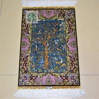 Wholesale 1 x2ft Home Rug Hand Knotted Persian Qum Silk Carpet Living Room