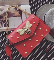Wholesale Pearl Handbags - New 5 color handbag lovely Rhinestone chain bag elegant woman bee pearl decorative leather shoulder bag women bag