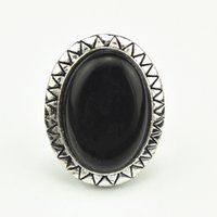 R018 Multistone Turquoise Black Stone Oval Adjustbale Ring Free Size Vintage look Antique Silver Gift