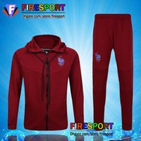 Wholesale Men S Track Suits - 2017 TOP France Soccer Jacket Kits Track suit Football Hoodie Training Suit Red Black 16 17 Football TrackSuit survetement Maillot Shirts