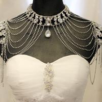 ingrosso monili della catena della spalla della perla-La collana nuziale handmade della spalla della collana della spalla della perla del cristallo del rhinestone ha promosso le collane della catena dei monili della spalla di nozze 2018