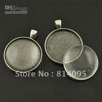 Wholesale Wholesales Glass Jewelry Trays - 30mm Black Gun blank pendant trays+ matching clear glass cabochons for custom photo jewelry making