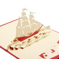 Wholesale Sailboat Card - (10 pieces lot)Sailboat Designs Lovely Handmade Paper 3D Greeting Cards With Envelope Birthday Gift Card Free Shipping