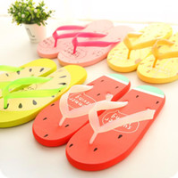 Wholesale Red Stay - Korean cartoon girls flip flops, lovely female Beach students, home stay, flat slippers, beach slippers, tide