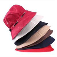 Wholesale 2017 Scalable Rope Fishing Hats Summer Women And Men Foldable Outdoor English Sun Beach Flat Bucket Hat Basin Cap Fashion Accessories