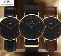 Wholesale Leather Womens Watches Brown - 2017 New Black dial mens womens Wellington watches 40mm Men watches 36 Women Watches Luxury Quartz Watch Female Clock Relogio Montre Femme