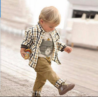 Vintage Three Pieces Anzug Kinderbekleidung 2016 European Style Plaid Shirt Jeans Mantel Baby Boys Kleider Sets Kids Outfits