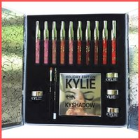 Wholesale Eye Shadow Lip Gloss - Factory Direct DHL Free 2017 New arrived in stock KYLIE Holiday Edition Big Box include lip gloss, Shadow Palette, cream shadow, eye linner!