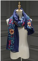 Wholesale Wholesale Linen Summer Scarves - 2017 Hot Slling Women Prevented Bask In Summer Beach Embroidery Shawl Pure Color Wrap Keep Warm Folk Custom Scarf 10pcs lot 180*90cm