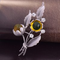Wholesale Vintage Sunflower Dress - Vintage Rhinestone Brooch Pin Gold-plate Alloy Sunflower Jewelry Brooch corsage for bridal wedding invitation costume party dress pin gift