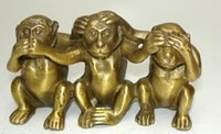 Collectibles Brass See Speak Hear No Evil 3 Monkey Statues big