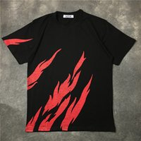 Wholesale O Necked Tshirts For Men - 2017 summer fire flame print tshirts for men and women cotton t shirts o-neck short sleeve tees casual cool shirts