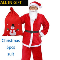 Wholesale Girls Santa Claus Clothing - 2017 5 in 1 Santa Claus clothes Christmas decorations women kais girl clothing Christmas Plush Adult Christmas Costume set
