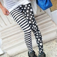 Wholesale Slim Girls Sexy Leggins - Wholesale- 2017 Ladys Girls Fashion Sexy Lady Womens Stripe Star Skinny Slim Stretchy High waist Trousers Leggings Pants Female Leggins