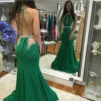 Wholesale One Sleeve Evening Dress Jersey - Free Shipping 2017 Green Halter Mermaid Prom Dresses Long Beading Jersey High Quality Sweep Train vestido de festa Evening Gowns