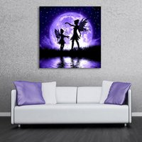 Wholesale Fairies Oil Paintings - Butterfly Fairy LED Flashing Canvas Wall Art Paintings Lights Wall Christmas Decoration Picture For Living Room Gallery