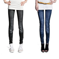 Wholesale Tight Colors Jeans - Wholesale- Hot Fashion Women's trousers pants Ladies Casual Tights Stretch Skinny jeans pants Legging 2 Colors 51 Freeshipping