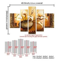 Wholesale Flowering Plants Pictures - 5-Panel 100% Hand-Painted Oil Paintings Landscape Elegant Pot Flowers Plant Modern Abstract Floral Artwork Canvas Stretched Wood Framed Read