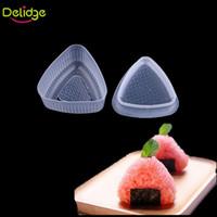 Wholesale Food Moulds - Delidge 2 pcs set Triangle Sushi Mold Food -Grade Plastic Rice Ball Maker Bento Press Mould Japanese Food Rice Sushi Tools