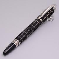 Wholesale Engraved Metal - Luxury Black Checker Hot Rollerball Pen M Crystal Top Metal Roller Ball Pens Engrave Series Number