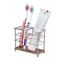 Wholesale Stainless Steel Toothbrush and Toothpaster Holder Toothbrush Organizer box bathroom Accessories Comb Holder