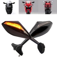 Wholesale Turn Signal Mirrors Cbr - BLACK LED TURN SIGNALS REARVIEW SIDE MIRRORS FOR HONDA CBR 250 600 1000 RR F3 F4