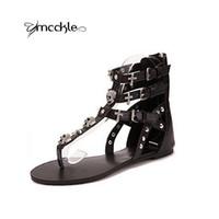 Wholesale Flat Fashion Sandals For Ladies - Wholesale-NEW 2016 Summer Rhinestone Crosses Skull Rome flip flops fashion women flats sandals for women flat slippers ladies J3918