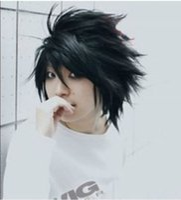 ingrosso nota di morte nera-Parrucche piene del merletto della maschera di modo di alta qualità Vendita calda! Popolare Death Note L nero corto elegante parrucca anime Cosplay Spedizione gratuita
