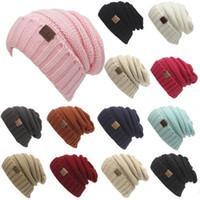 Wholesale Designed Beanies - 13 Colors Trendy Knitted CC Cap Winter Warm Hat Unisex Simple Design Chunky Soft Knitted Beanies Skull Beanies With CC Label CCA6778 30pcs