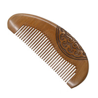 Wholesale flower hair dryer - Peach Wood Comb Pocket Hair Comb Wholesale Fine Tooth No static Flower Carving Hair Comb Curly Hair In Bulk