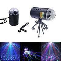 Mini-projecteurs À Prix Réduits Pas Cher-Réduction d'ouverture EU EU 110V 220V Mini projecteur laser 3w Light Full Color LED Crystal Rotating RVB Stage Light Party Stage Club DJ SHOW