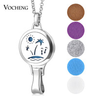 Wholesale Necklace Pendant Clip - Aromatherapy Locket Necklace Hangtag Pendant Clip 316L Stainless Steel Magnetic without Felt Pads VA-340
