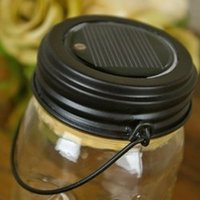 Wholesale Hot sell Led Lighted Mason Jar Lid With Hanger Solar Powered black color lid