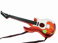 Cadeaux Éducatifs Pour Enfants Pas Cher-Jouet pédagogique pour enfants Mini guitare musicale avec 4 cordes marron ou orange pour débutants Pratique Kids Boys Girls Toy Gift