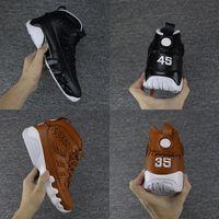Wholesale Blue Boxing Gloves - 2017 Air retro 9 Baseball Glove pack Man basketball shoes Number 45 35 black Retro 9s Brand Men sport Sneakers eur 41-47