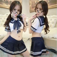 Wholesale Spandex Student Sexy - 2017 Sexy Lingerie Hot Youth Student Uniforms Erotic Costumes Role Play White Erotic Lingerie Women Sexy Underwear
