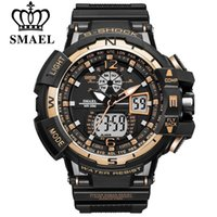 Wholesale Electronic Sport Stopwatch - Brand SMAEL Men Sports Watches Dual Display Analog Digital Clock LED Electronic Quartz Wristwatches Waterproof Military Watch