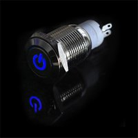 Wholesale Power Push Switch Off - Universal Waterproof Stainless Steel Blue 12V 3A 16mm LED Power Button Switch Push ON OFF for car boat