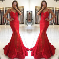 Wholesale design party gowns resale online - Mermaid Sexy Red Prom Dresses New Design Mermaid Spaghetti Straps with Lace Appliques Evening Party Gowns Formal Pageant Wear BA6685