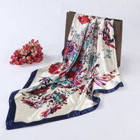 Wholesale new style hijab scarf - Wholesale-2016 Square Silk Scarf For Women Luxury Designer Brand Ladies Scarves Female Hijab 90*90cm Fan Style Spring Autumn New Fashion