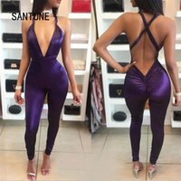 Wholesale Sexy Elastic Jumpsuits - Wholesale- 2017 women Sexy sleeveless halter backless bandage Elastic bodycon Jumpsuits red purple solid deep v neck overalls vestidos