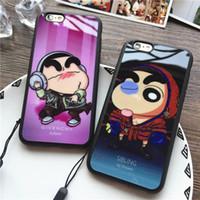 Wholesale Shin Chan Iphone Case - Cute Cartoon Crayon Shin-chan Soft Silicone Acrylic Mirror TPU Case Back Cover Lanyard for iPhone 5 5S SE 6 6S 7 7 Plus