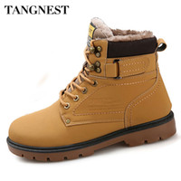 Grossiste- Tangnest Hommes d'hiver en fourrure Bottes Casual Lace Up Safety Work Boots Automne Hommes Chaussures Plate-forme en caoutchouc Snow Boot Homme Grande Taille 46 XMX637