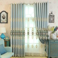 Curtain Draperies Grommet Hotel Western Simplicity Blue Living Room Bedroom Blackout Window Shades French Bay