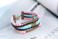 Wholesale Gold Anchor Wrap Bracelet - Anchor Dream where ther eis a will there is a way bracelets for man woman Beautiful Leather bracelets for men create wrap bracelets